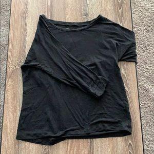 I Crew Linen 3/4 Sleeve Black Top